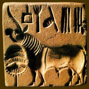Бык-единорог на печати из Хараппы