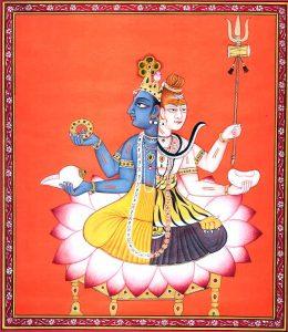 Слияние Шивы (тёмнокожего доарийского божества, которому брахманы придали белый цвет) с Вишну (божеством арьев, представленном в форме воплощения чёрного Кришны)